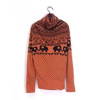 Knitting Orange Women High Neck Cute Elephant and Dot Pattern One Size Sweater @H2909o