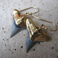 Shark Tooth Gold Earrings by irisjewelrydesign on Etsy