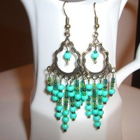 Turquoise Chandelier Bohemian Earrings