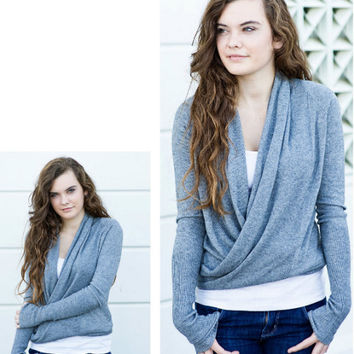 Dimgray Wrap Cardigan [3262] - $42.00 : Vintage Inspired Clothing & Affordable Summer Dresses, deloom | Modern. Vintage. Crafted.
