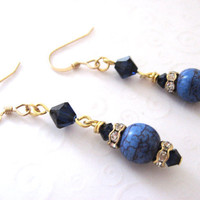 Elegant Blue Earrings in Dark Blue and Gold with Swarovski Crystal and Rhinestones, Classic Elegant Earrings Gold Filled