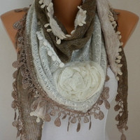 Fabric Knitted Lace Scarf  -  Plush Shawl Scarf  Flower Scarf -  Cowl Scarf - Brown - fatwoman