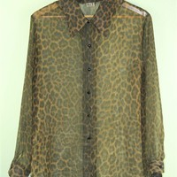 Leopardprint Sheer Blouse