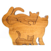 Vintage Wood Puzzle, Handmade Cat, Kitten Figurine, Toy