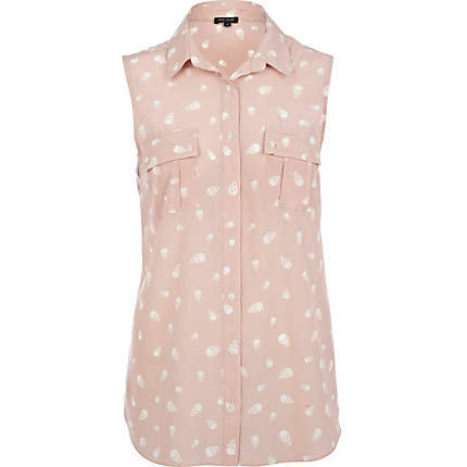 light pink skull print sleeveless shirt