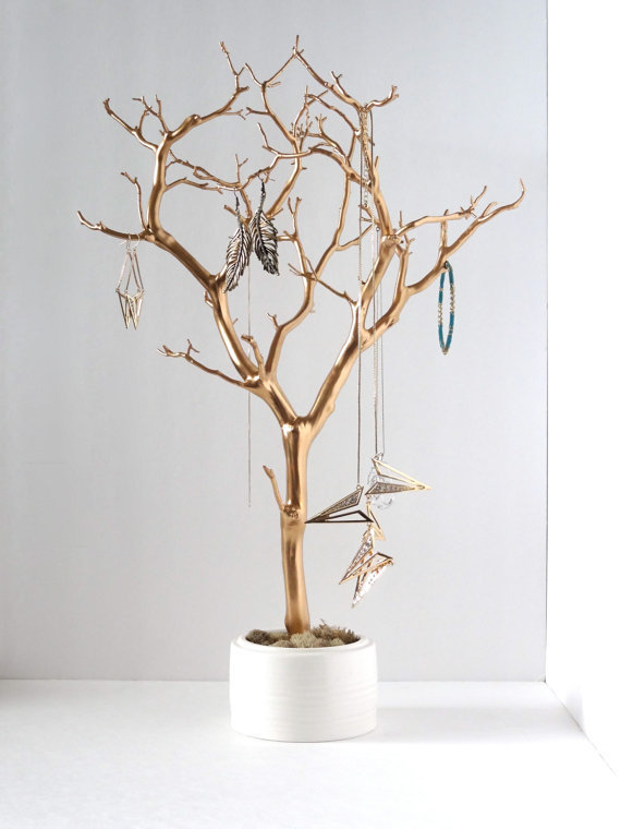 Jewelry holder organizer tree gold white from for Altruy decoration sa