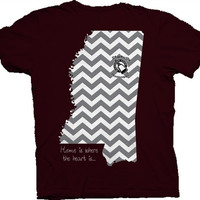 Southern Belle Mississippi State Home is Where the Heart is Chevron  Girlie Bright T Shirt