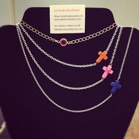 Sideways cross & gemstone Necklaces from La Fede Boutique