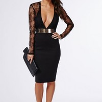 Missguided - Loraine Lace Long Sleeve Top Dress