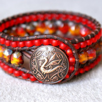 Fire Dragon leather cuff bracelet, Chan Luu Style, trendy, boho chic, red, flame, orange, yellow, amber, matte