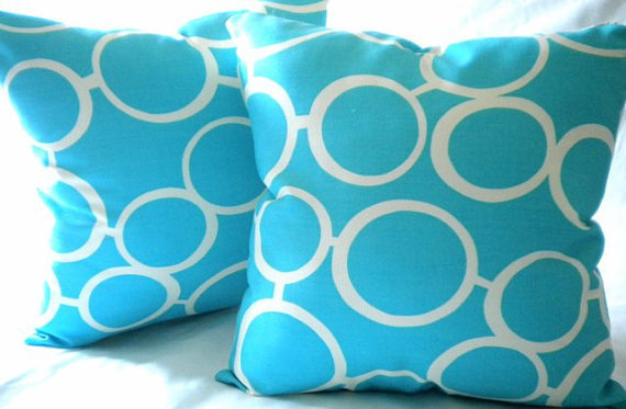 Trina Turk Aqua Turquoise Indoor/Outdoor Pillow cover 18 x 18