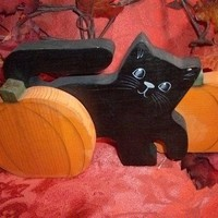 Wood Black Cat and Pumpkin Shelf Sitter, Handcrafted Halloween Decor