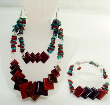 Handmade SemiPrecious Gemstone Red JasperTurquoise Jewelry Set by BeautyandtheGems on Zibbet