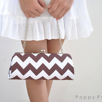 Chevron in Brown -- X Large Clutch-- Ready to Ship