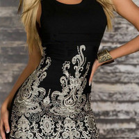 Gold Embroidered Bodycon Dress - Black