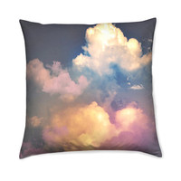 Home Decor Accent Throw Pillow Cover with Pastel Clouds Vintage Style Photography Print Fabric Cushion Cover