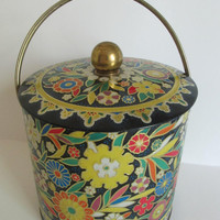 Vintage Shabby Chic Large Round Tin Cannister Floral Daher Lid and Handle