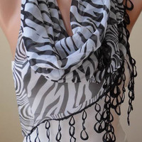 Zebra Print -  Silk - Chiffon Scarf with Black Trim Edge