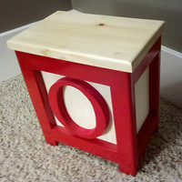 Wooden Block Step Stool Red O Handmade 12&quot; Tall Very Cool