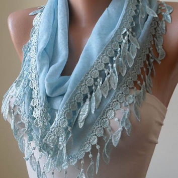 Soft and Lightweight -  Light Blue Scarf with Trim Edge