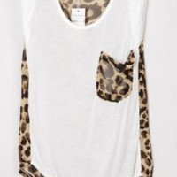 Leopard Patchwork High-low Sleeveless Blouse - Sheinside.com
