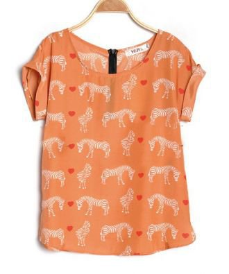 Orange Zebra Heart Print Roll Sleeve Zip Back Chiffon Blouse - Sheinside.com