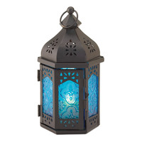 Small Blue Moroccan Candle Lantern