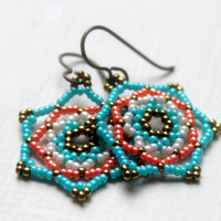Beaded Southwest Earrings Handwoven.. on Luulla