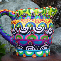 Clay Mosaic Ceramic Pitcher Multi Colored Multi Patterned