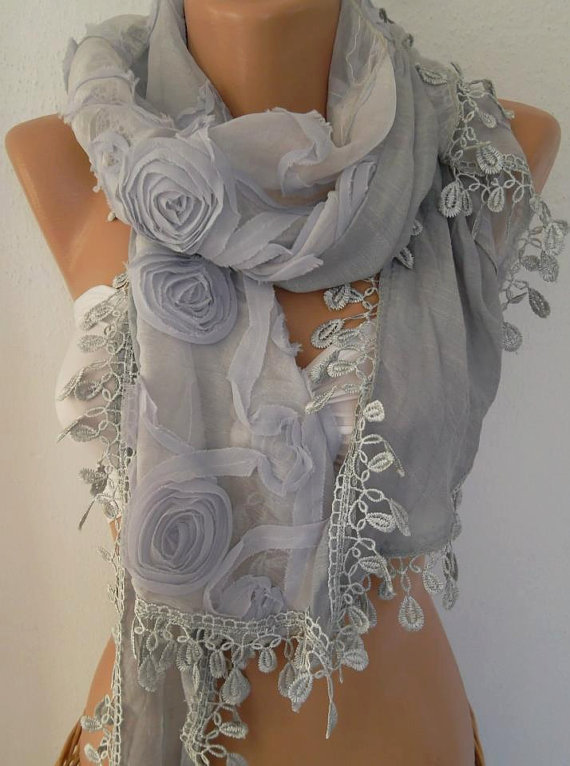 Unique - Gorgeous Scarf - Grey Chiffon and Tulle...Feminine - Elegant Scarf....