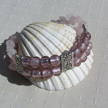 "Gemstone Crystal Bracelet, Rose Quartz & Pink Silver Foil Beaded  ""Simply Pink"""