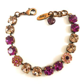 "Swarovski crystal tennis bracelet, 8mm Fuchsia and vintage rose, ""Victoria"" vintage style bling with flowers, Siggy"