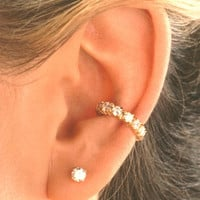 Cubic Zirconia 'Tennis Band' Gold Vermeil Ear Cuffs Earrings
