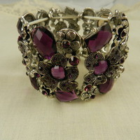 Purple Flower Bracelet Silver Ornate Stretch from Eves Home Decor and Jewelry