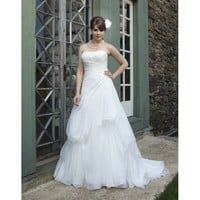 Pure White Strapless Lace up Organza A-Line Plus Size Princess Wedding Dress - Basadress.com