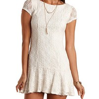 Fluted Crocheted Lace Dress by Charlotte Russe - Ivory