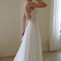 LOW BACK, LACE FRONT, CHIFFON WEDDING DRESS