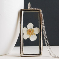 White Flower Necklace. Flower Locket Necklace.