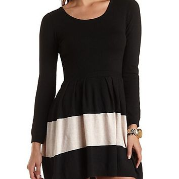 Striped Sweater Knit Skater Dress by Charlotte Russe - Black Combo