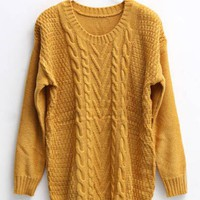 Twist Round Neck Yellow Sweater$45.00