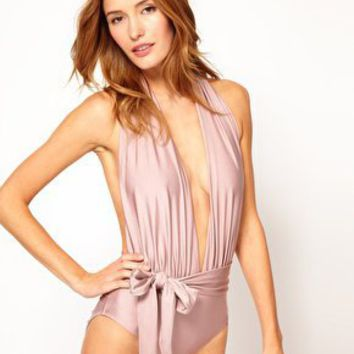 ASOS Plunge Backless Suit at asos.com