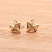 FOX stud earrings in gold  by bythecoco on Zibbet