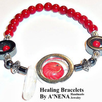 Men's Bracelet  Genuine Coral, Hematite and Clear Quartz