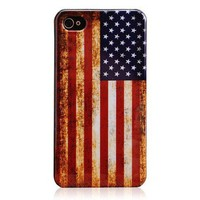 Vintage American Flag Hard Plastic Case for Iphone 4 & 4S by Hallomall