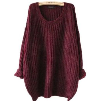 ARJOSA Womens Casual Knitted Crewneck Long Sleeve Pullovers Sweater