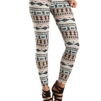 Cotton Tribal Printed Leggings by Charlotte Russe - Gray Multi