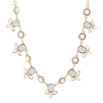 Dainty Faceted Stone Collar Necklace by Charlotte Russe - White