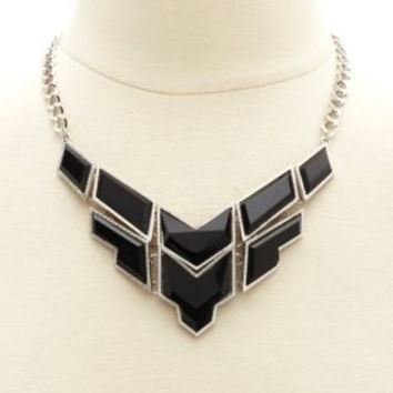 Faceted Geometric Stone Bib Necklace by Charlotte Russe - Black