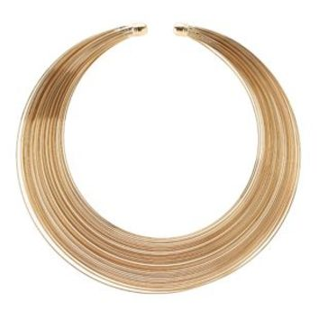 Stacked Wire Choker Necklace by Charlotte Russe - Gold