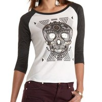 Foiled Skull Graphic Baseball Tee by Charlotte Russe - Charcoal Combo